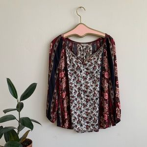 Lucky Brand Boho Floral Peasant Blouse with Roses